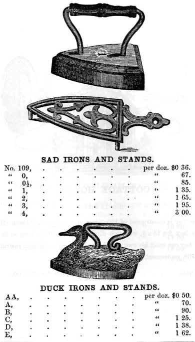 "1872 Toy sad irons, cast in iron by Stevens & Brown in Cromwell, Conn., USA; the top iron, belonging to the stand (3¾"" long) in the middle, likely is also from their factory, although not shown in the catalogue; the duck iron is 3¼"" long"