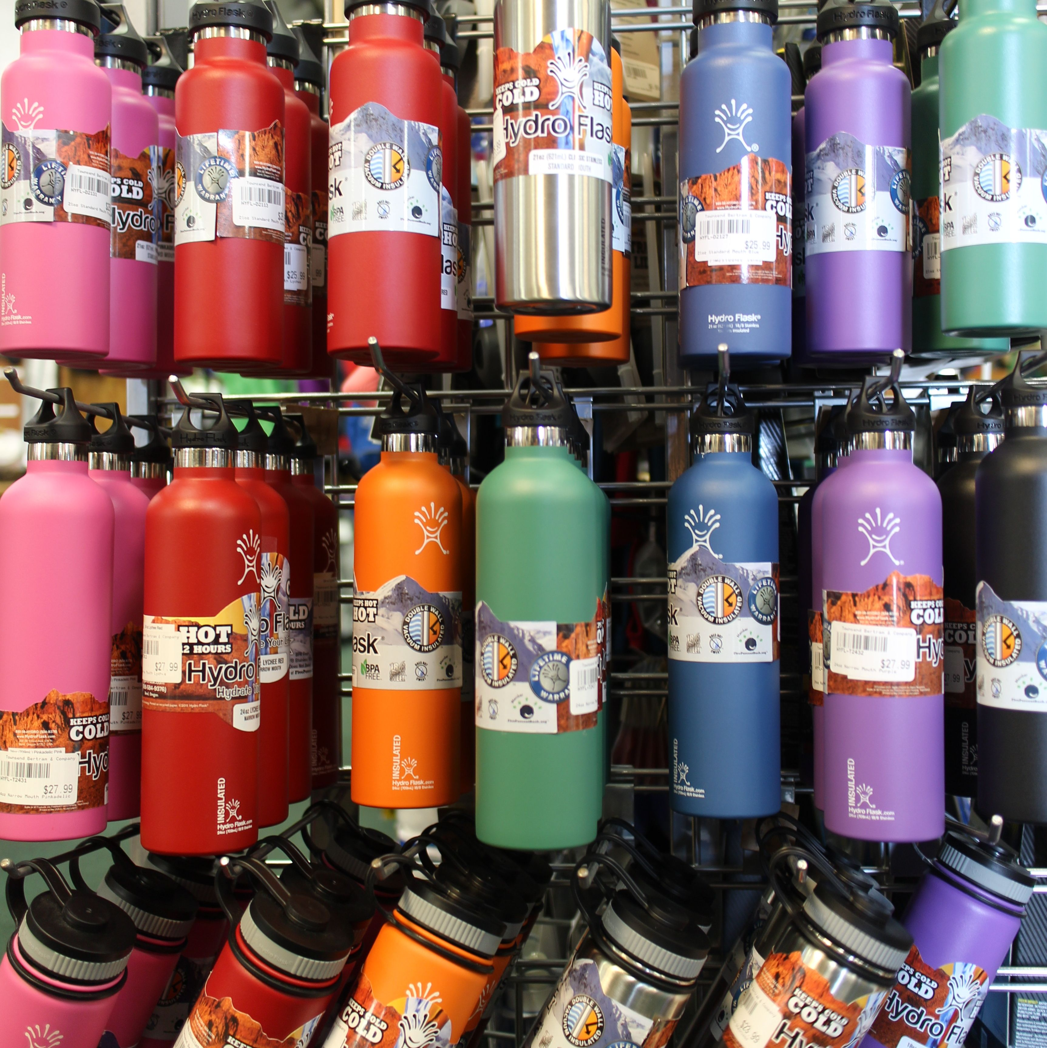 Hydro Flasks In A Rainbow Of Colors At Townsend Bertram Company Carrboro Nc Hydroflask Carrboro Bottle