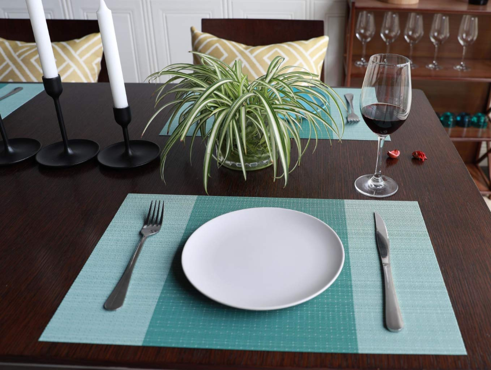 Amazon Com Sunshine Fashion Placemats Placemats For Dining Table Heat Resistant Placemats Washable Pvc Table Mats Kitche Placemats Table Mats Geometric Table