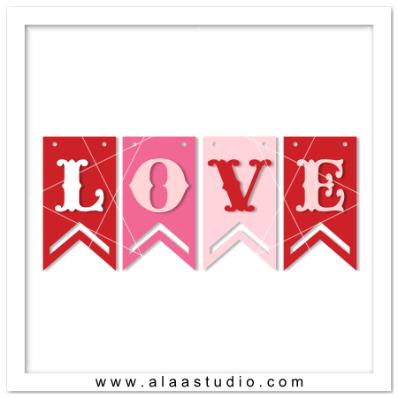 Download Love word banner. Free download SVG, PDF and DXF cutting ...