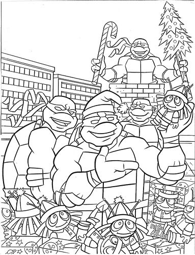 turtles coloring pages tmnt christmas