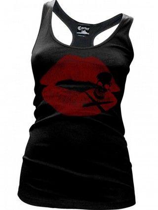 """Women's """"Kiss of Death"""" Racerback Tank by Cartel Ink (Black)"""