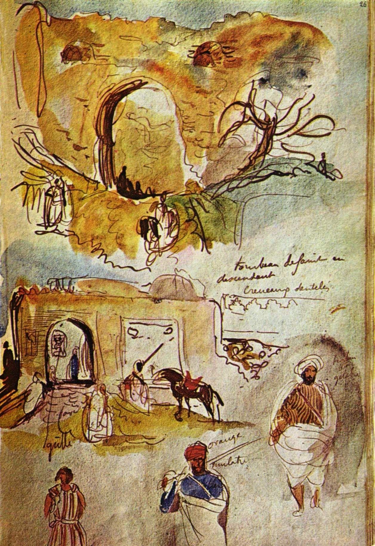Extrait Du Carnet De Voyage Au Maroc D Eugene Delacroix 1832 Eskiz Sanatcilar Defter