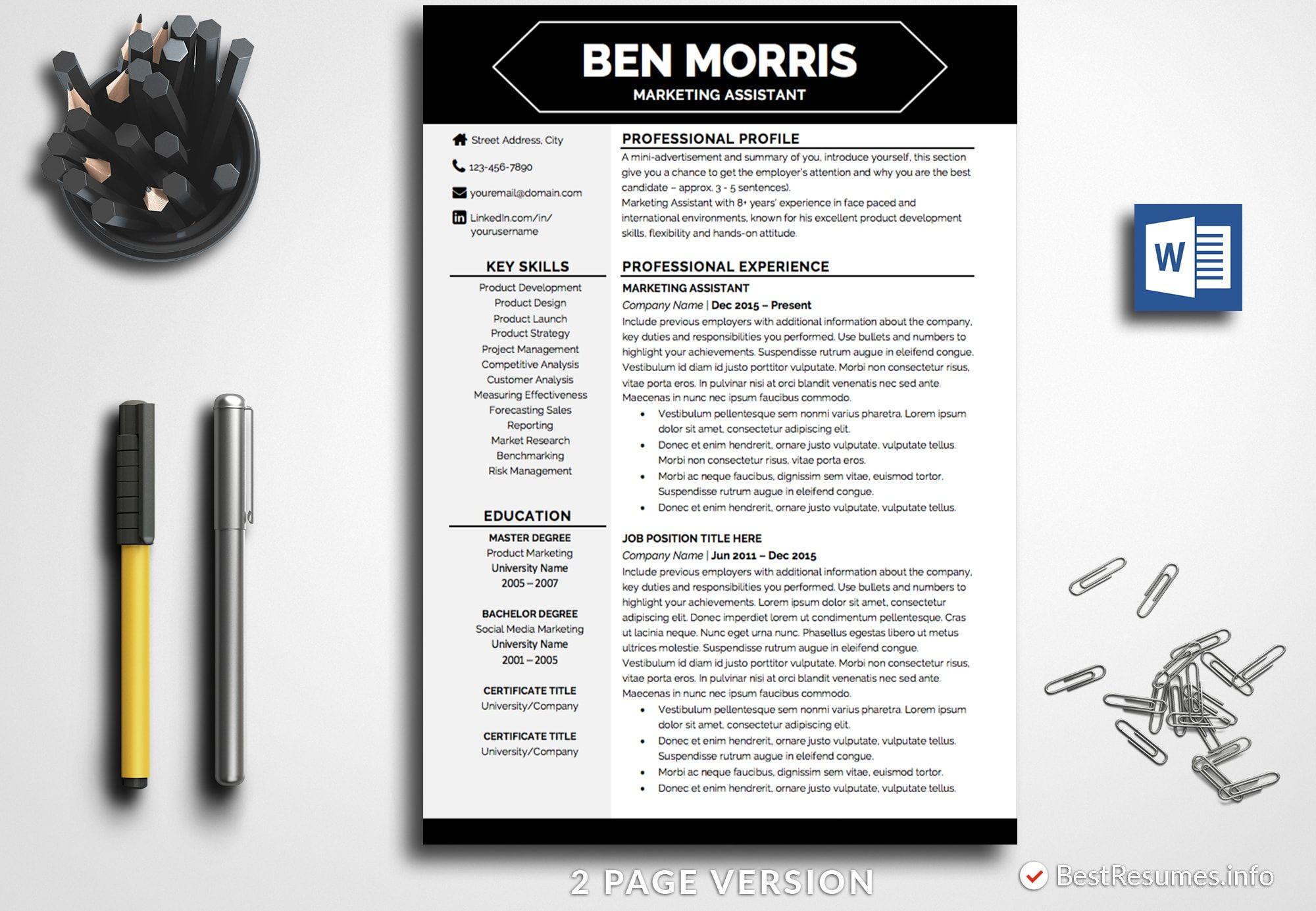 Professional Resume Template Ben Morris Bestresumes Info Resume Template Professional Resume Template Word Creative Resume Templates