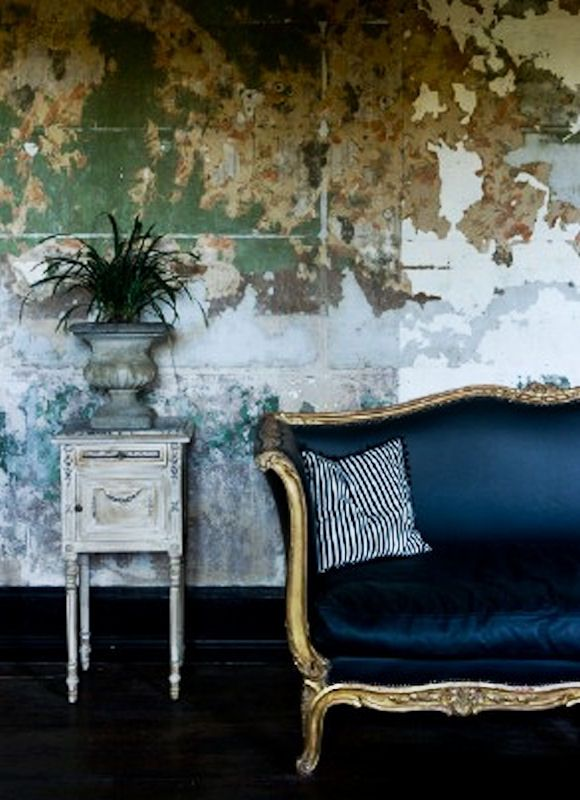 Navy Vintage Couch With Images Vintage Couch Beautiful Interiors Distressed Walls