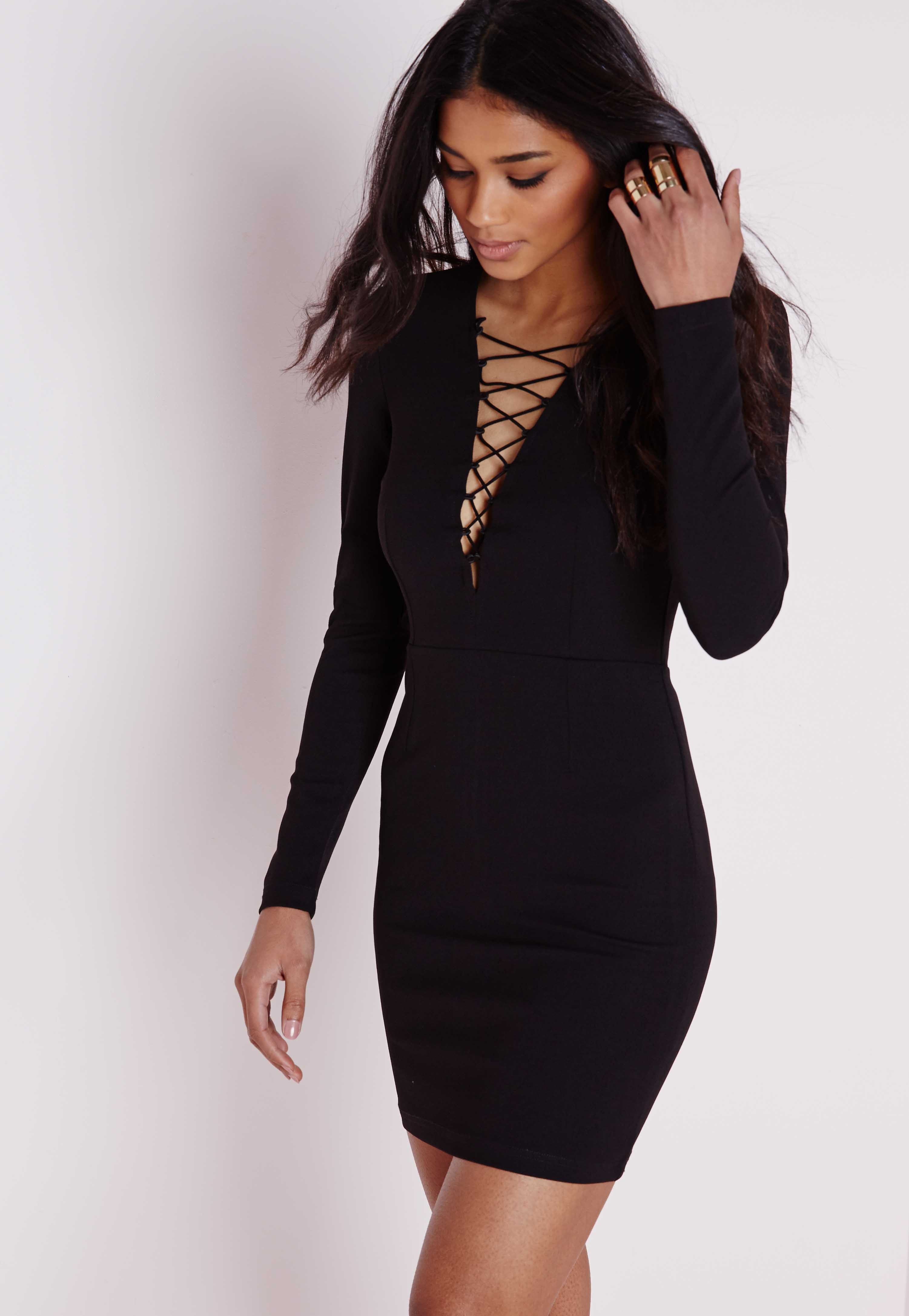 Missguided Crepe Lace Up Front Mini Dress Black Dresses