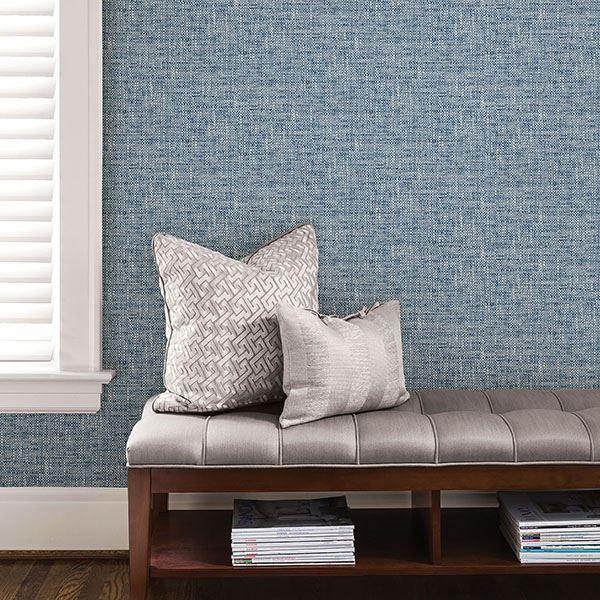 Navy Poplin Texture Peel & Stick Wallpaper Peel and
