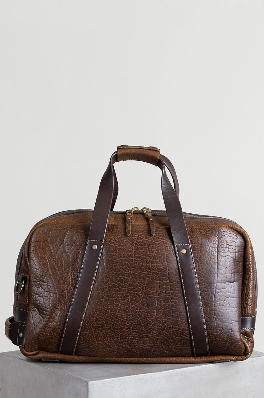 2029f4b839d5 Our Bison Weekender is a showpiece duffel bag with the luxurious pebbled  texture of American bison leather. Made in the USA. Free shipping returns.