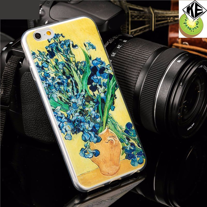fashion embossing design van gogh watercolour drawing phone case for iphone 5 se 6 7 soft tpu protect cover