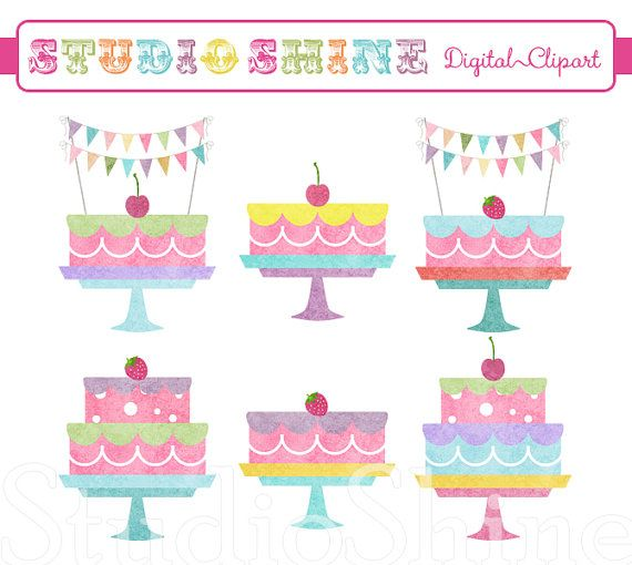 Digital Clipart Birthday Cakes Clip art for scrapbooking party