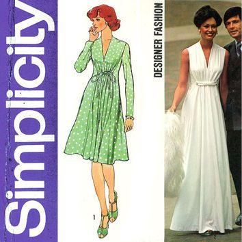 1970s Evening Dress Pattern Simplicity 6672 Bust 34 Princess Seam ...