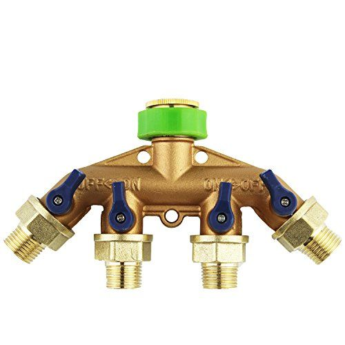 Rocsai Heavyduty 12 Water Hose Shut Off Valve Solid Brass Garden Hose Splitter Easy 4way Hose Connector For Home Lawn Hose Splitter Hose Connector Water Hose