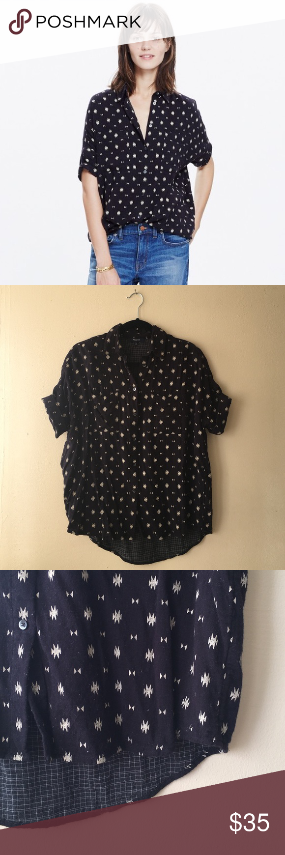 Madewell Courier Shirt in Orsa Print The perfect oversized, slightly boxy shaped shirt. Made with a special double-faced fabric (one side is a geometric print, the other a subtle plaid).  *worn 1-3 times*  - Slightly oversized fit. - Cotton. Madewell Tops Button Down Shirts