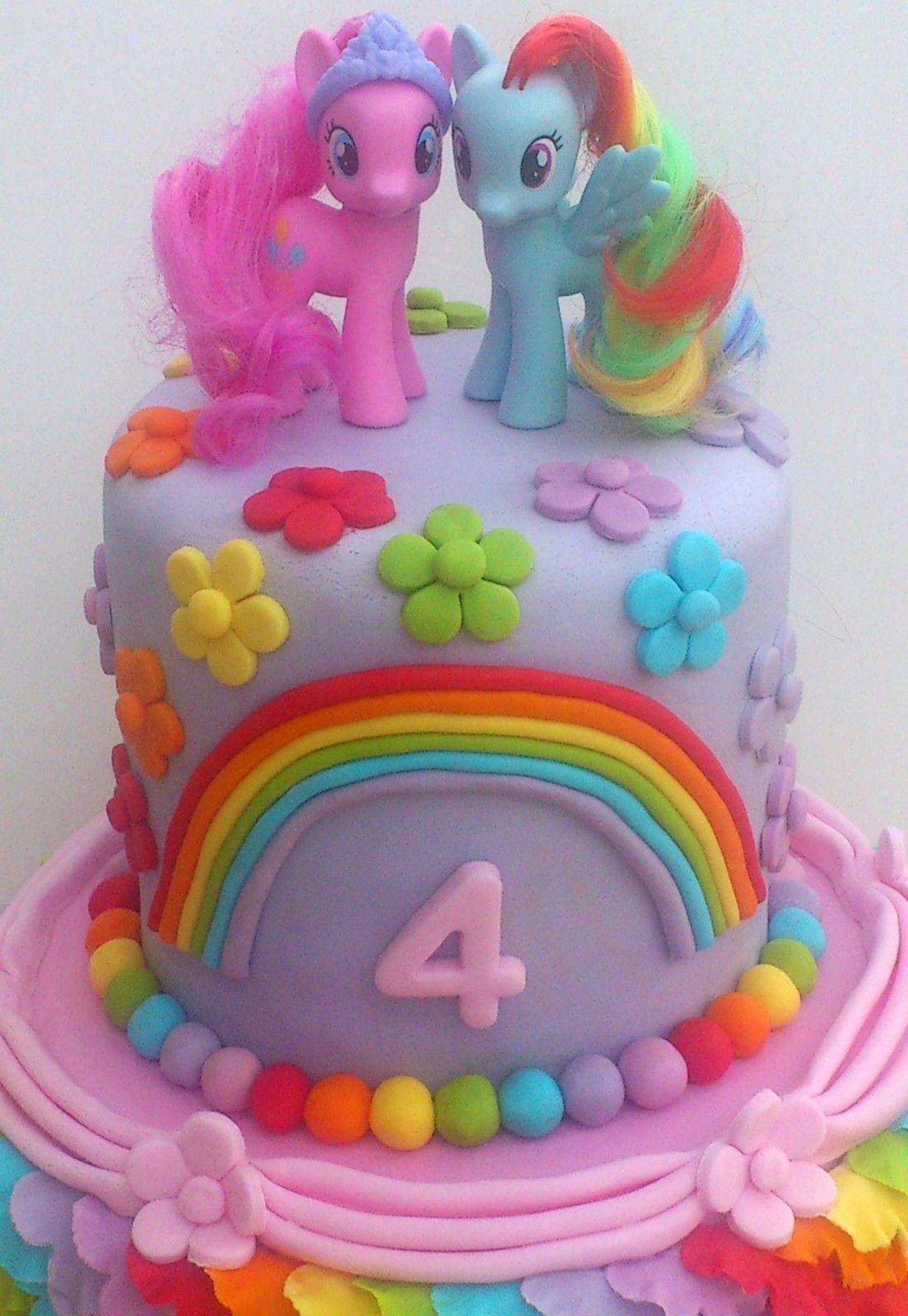My Little Pony 2 Tier Rainbow Theme Novelty Birthday Cake With