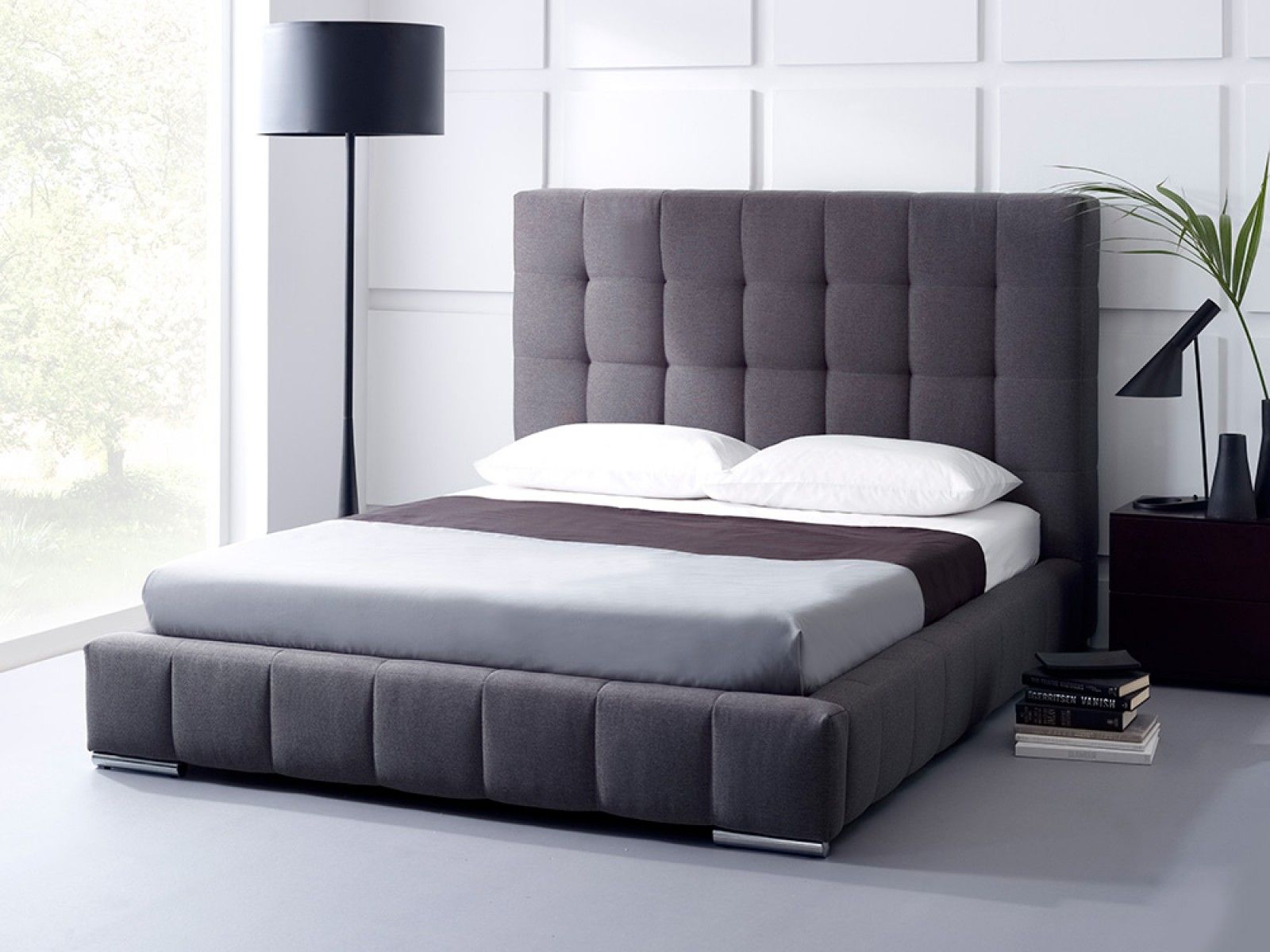 Ava GRID TUFTED upholstered storage bed   Living It Up HEADBOARD ...