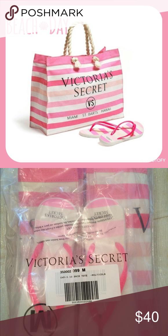 6add18f99ee2b ⛱Victoria's Secret Beach Bag & Fiip Flops⛱ Brand new pink and ...