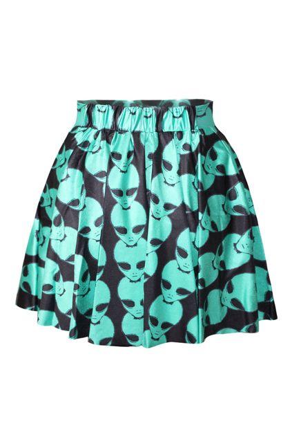 79d0b6736d ROMWE | Alien Print High-waisted A-line Skirt, The Latest Street Fashion