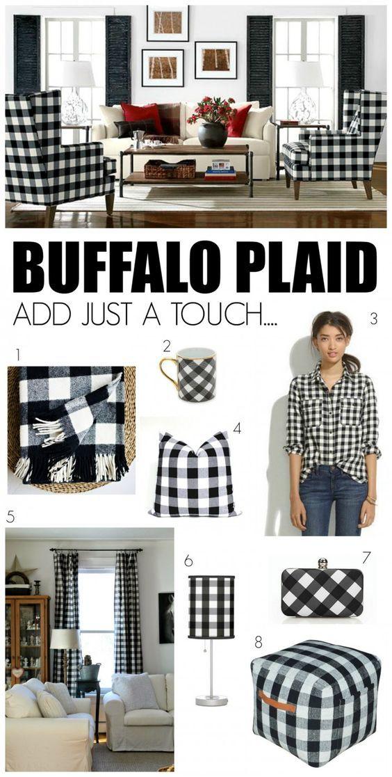 Love The Look Black White Buffalo Plaid Mendez Manor Farmhouse Chic Living Room Buffalo Plaid Decor Plaid Decor