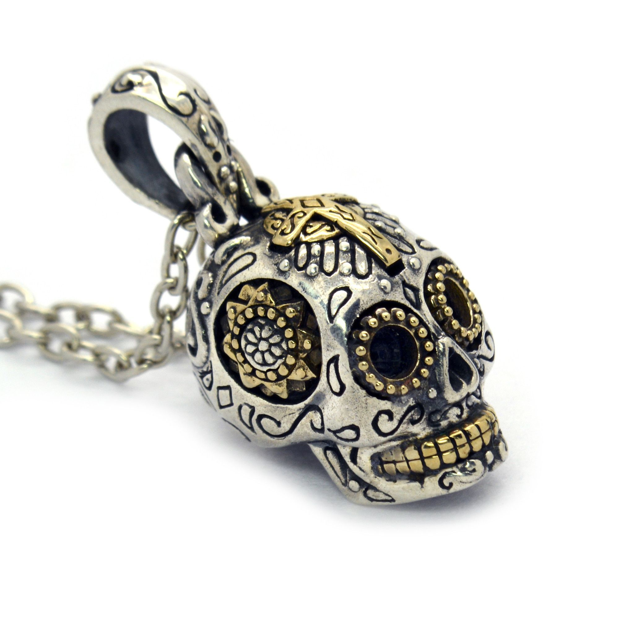 pin gold dead sugar necklace the jewelry handmade new of skull pendant day