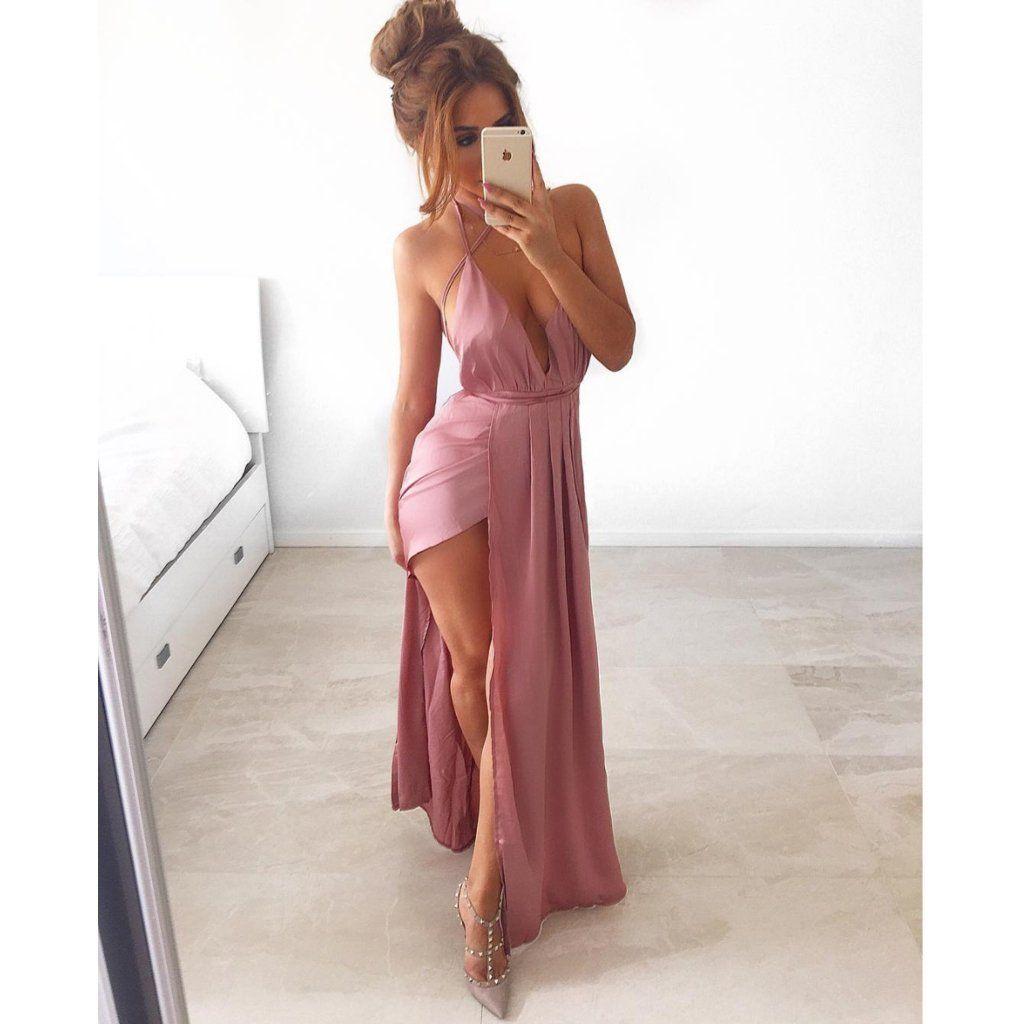 Pink long prom dresses open back aline vneck sleeveless sexy