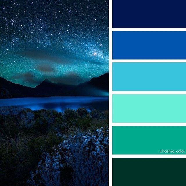 Farbpalette Blau, Galaxie Farben, Bunte