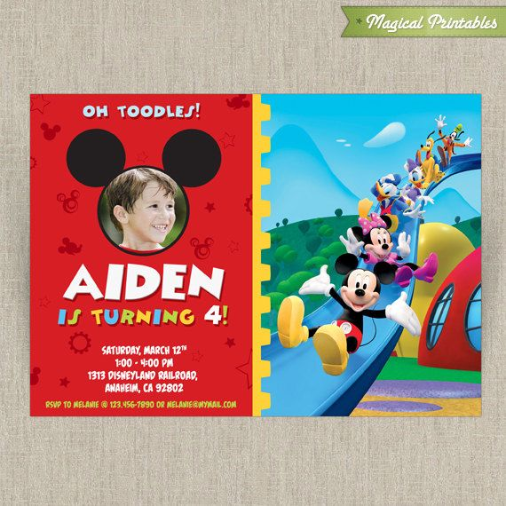 Disney Mickey Mouse Clubhouse Customizable Printable Party Invitation    With Photo. $10.00, Via Etsy