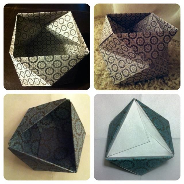 "6.Top2 pics shows box 2 ""rings"" high. Bottom 2 are different, but made in the same manner. This time u only make 3 pieces. Connect them together like before. This time the white triangles become bottom."