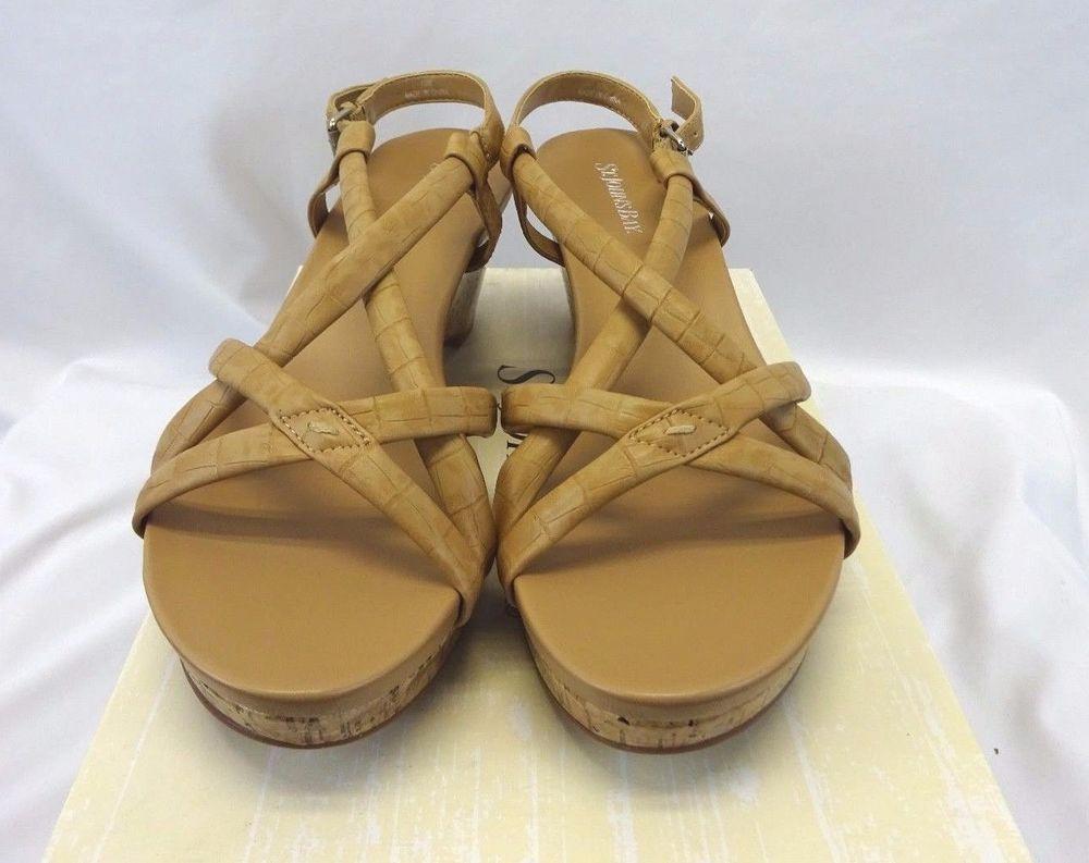 ST. JOHN'S BAY Taupe Tan Light Brown Strappy Wedge Sandals Miranda Sz 10 NEW #StJohnsBay #PlatformsWedges