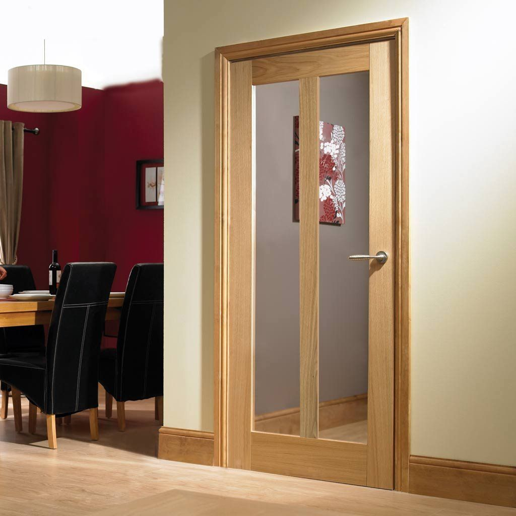 Vermont Oak Door With Clear Safety Glass Is Pre Finished Oak Doors