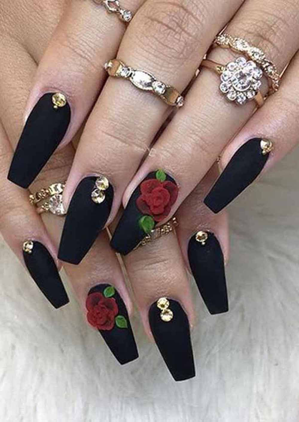 13 Sensational Red And Black Acrylic Nail Designs You Must Apply In 2020 Black Acrylic Nails Black Acrylic Nail Designs Matte Black Nails
