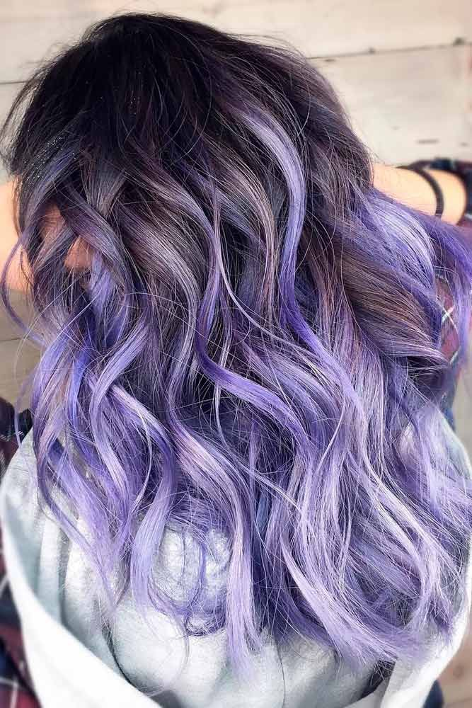 brown hair with pastel purple tips