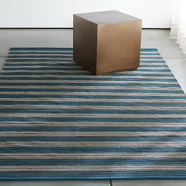 Crate Barrel Sachi Teal Stripe Indoor Outdoor Rug
