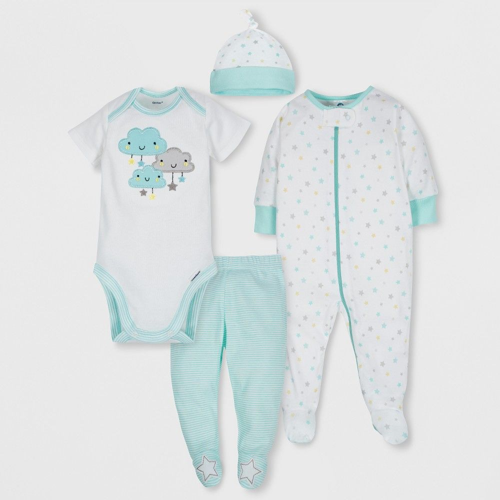 8d66683ff This neutral baby cloud theme 4pc Take Me Home Set from Gerber features  friendly fluffy clouds with the most adorable smiles! Your little boy or  girl will ...