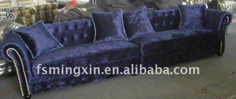 Gewebe-Chesterfield-Sofa im blauen Samt-Verkauf JZ-035-Wohnzimmer - wohnzimmer sofa braun