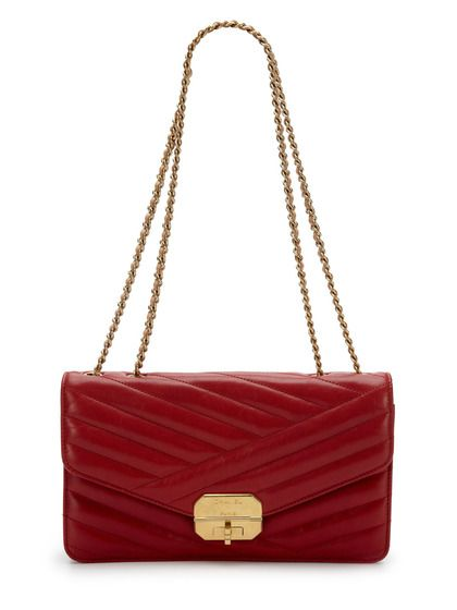 Red Chevron Quilted Lambskin Leather Flap Bag