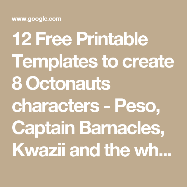 12 Free Printable Templates to create 8 Octonauts characters - Peso ...