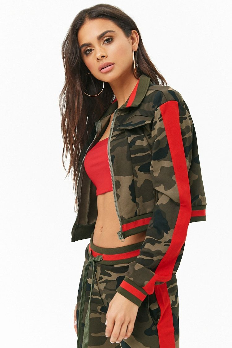 fe4d2726b5a Love the color combos.  Forever21 camo striped cropped  jacket in  olive     red  fashion  styling  frizal