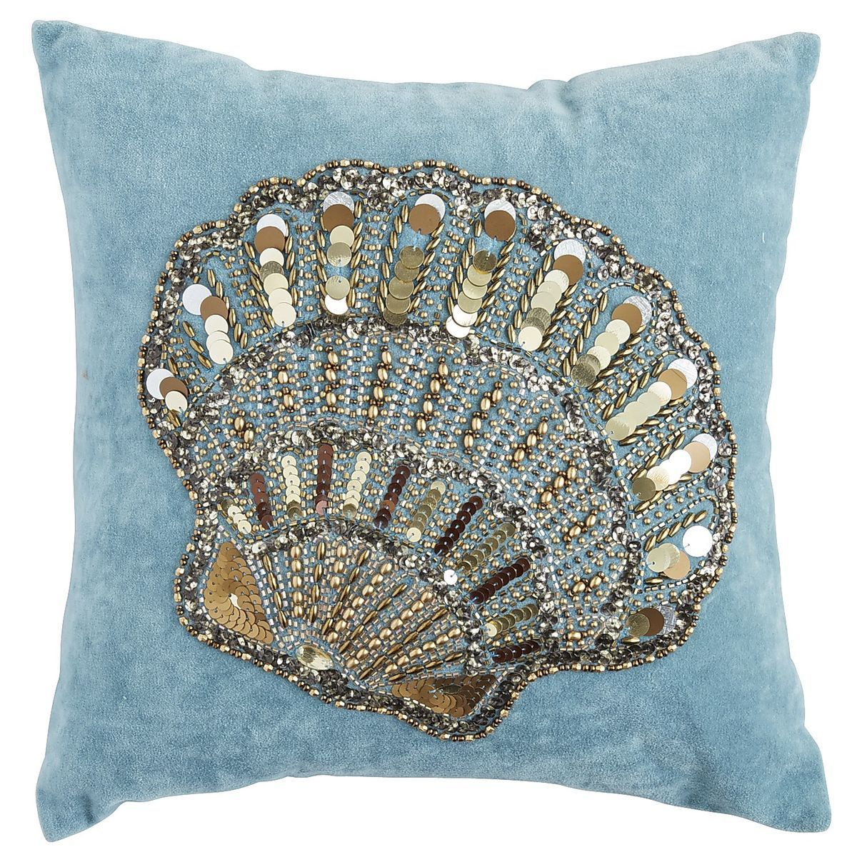 Coastal Beaded Embroidered Shell Pillow | Pier 1 Imports Ideas