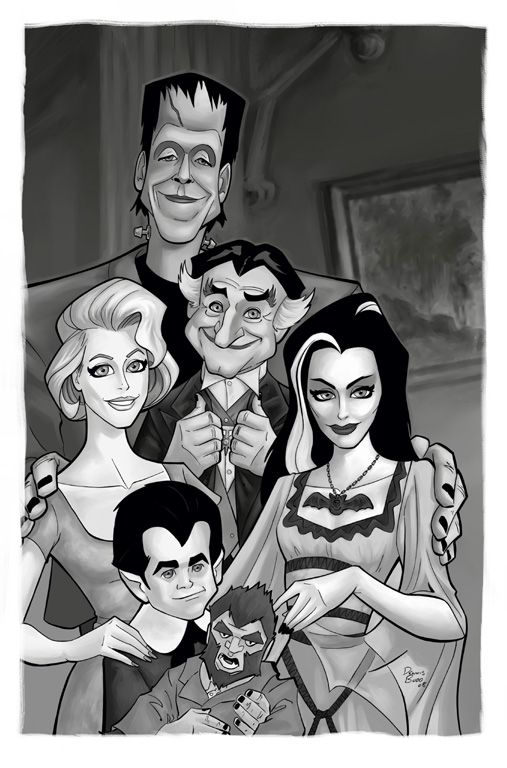 herman munster cartoon they do make for a cool family portrait - Munsters Halloween Episode