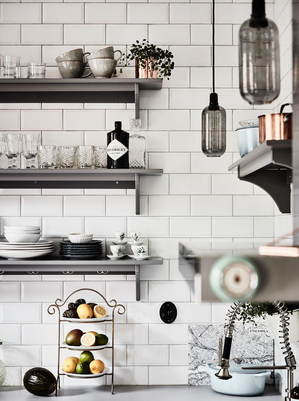Green And Grey Scandinavian Kitchen