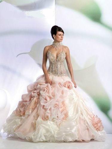 Trouwjurk roze wit