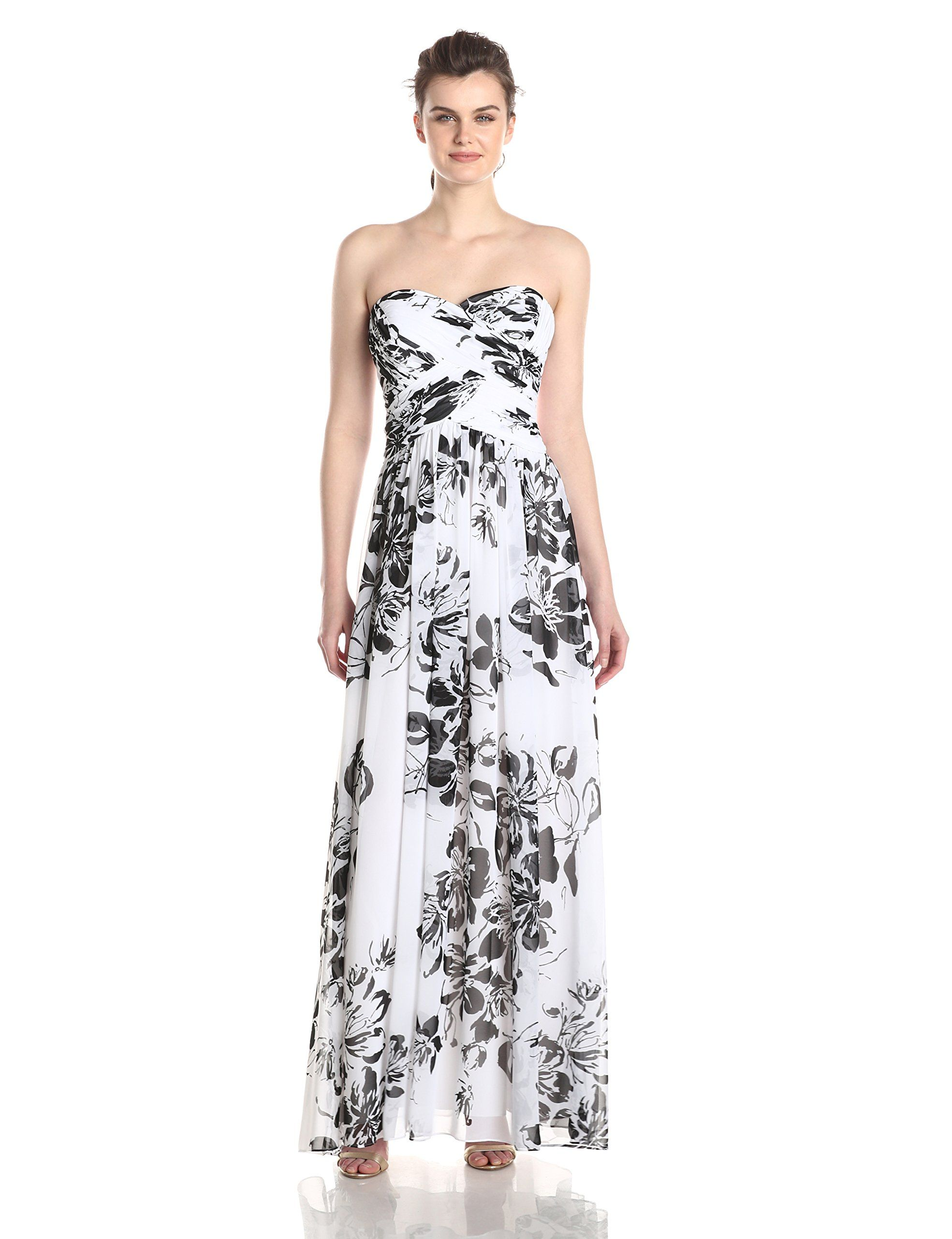 JS Boutique Women\'s Long Strapless Rouched Chiffon Gown, Black, 14 ...