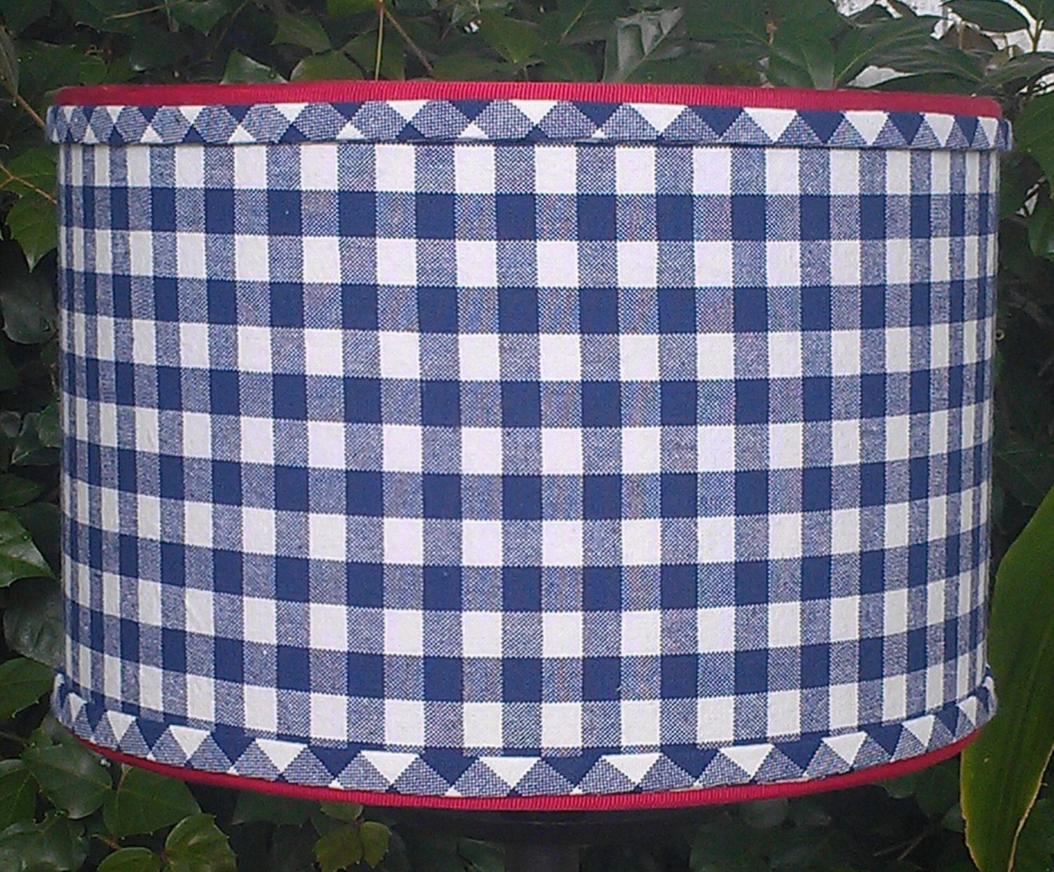 Drum lampshade navy blue checks blue gingham fabric designer drum lampshade navy blue checks blue gingham fabric designer upholstery red grosgrain aloadofball Image collections