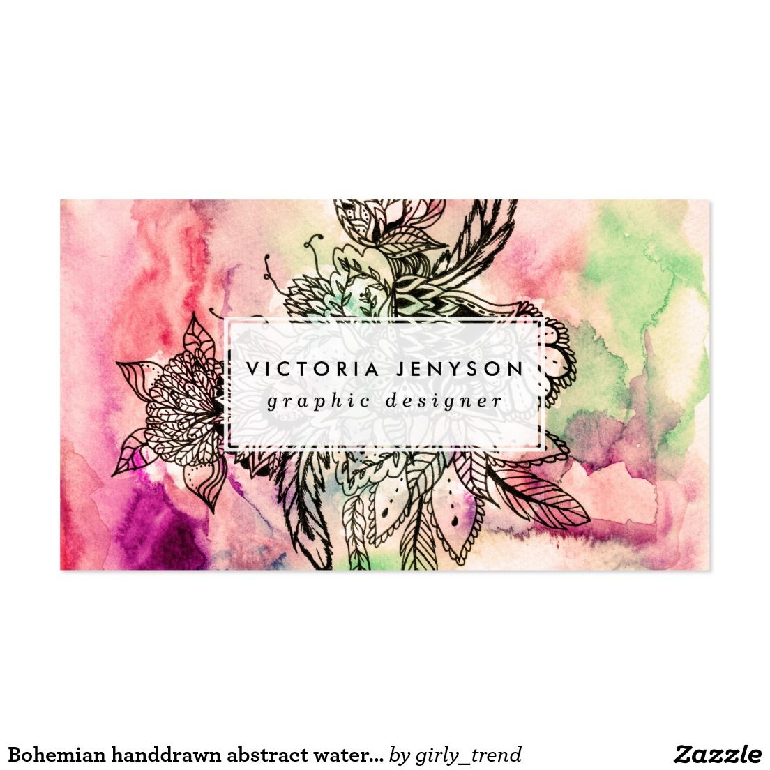 bohemian handdrawn abstract watercolor paint business card floral flowers watercolor boho girly