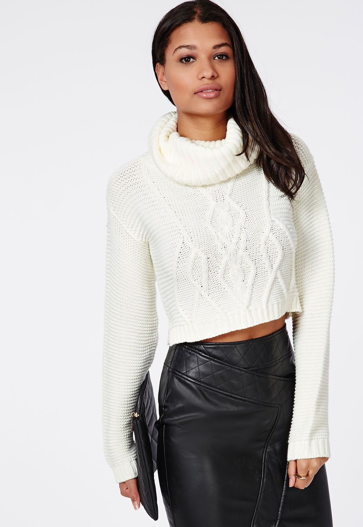 Aliya Roll Neck Cable Knit Crop Jumper Cream - Knitwear ...