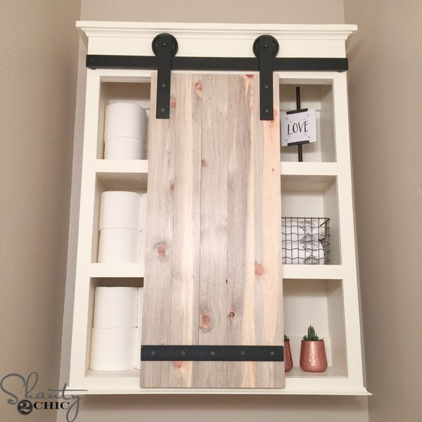 White Farmhouse Sliding Door Cabinet: DIY Sliding Barn Door Bathroom Cabinet