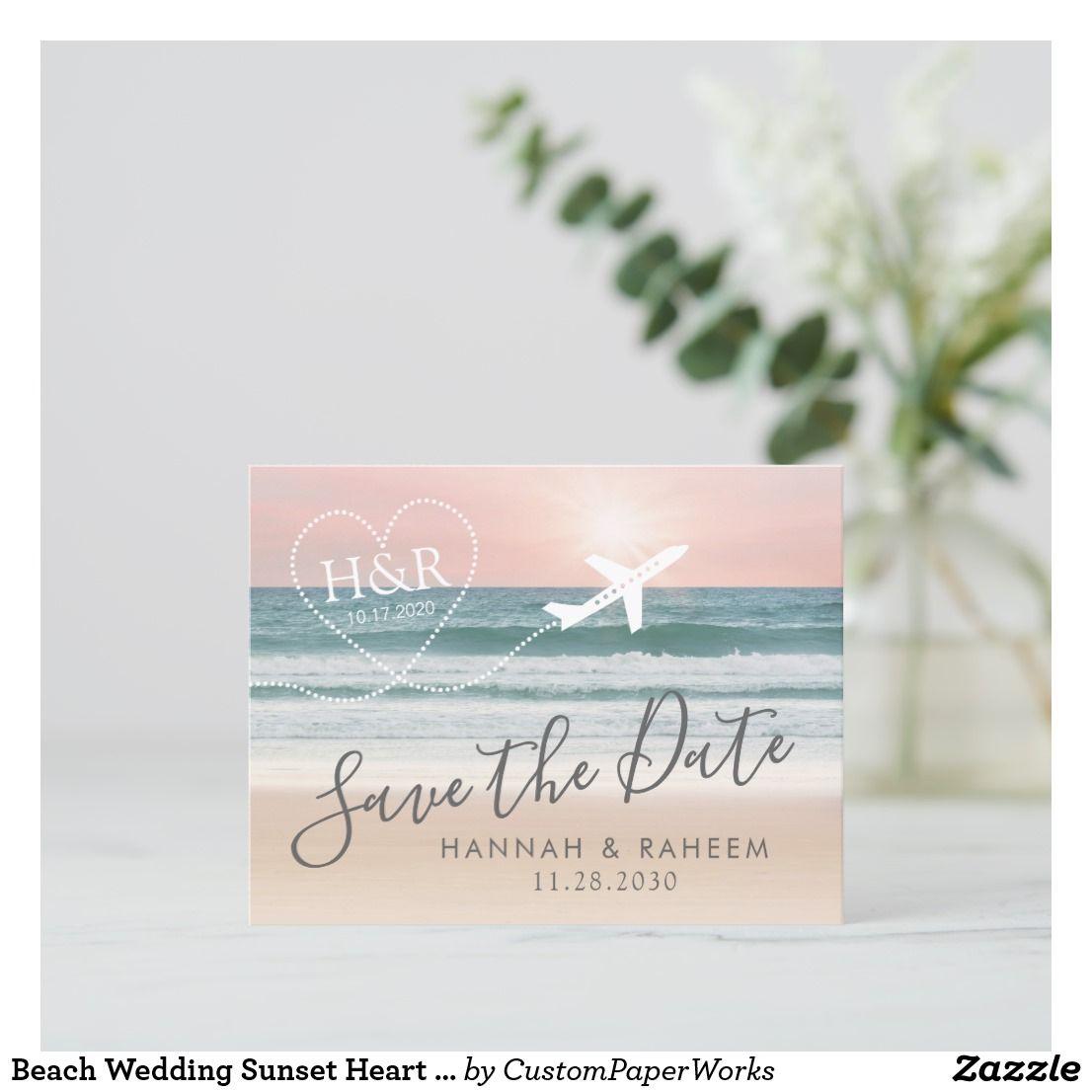 Sunset Beach Wedding Ideas: Beach Wedding Sunset Heart Airplane Save The Date