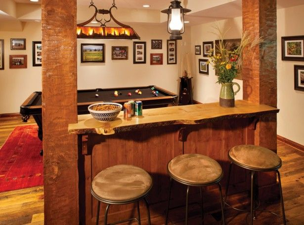 Interior rustic basement present mini home bar with vintage bench plus woos table or ancient - Mini bar table design ...