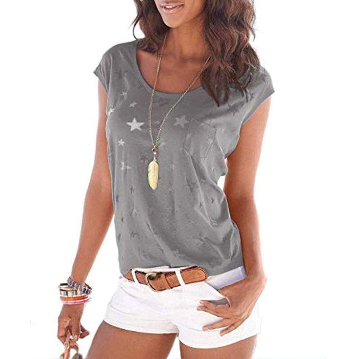 new concept 4601f 0cbaa AlloverSternen #Ärmellos #Basic #Damen #Druck #Shirts ...