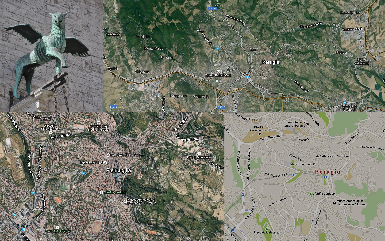 Perugia, Italy - googemaps collage